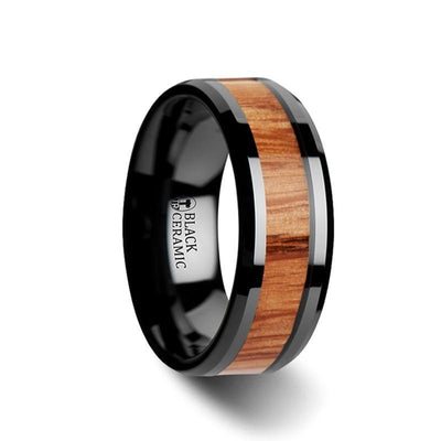 OBLIVION Red Oak Wood Inlaid Black Ceramic Ring with Bevels - 6mm & 8mm