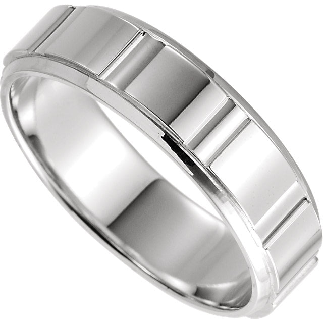 patterned panel wedding band white gold