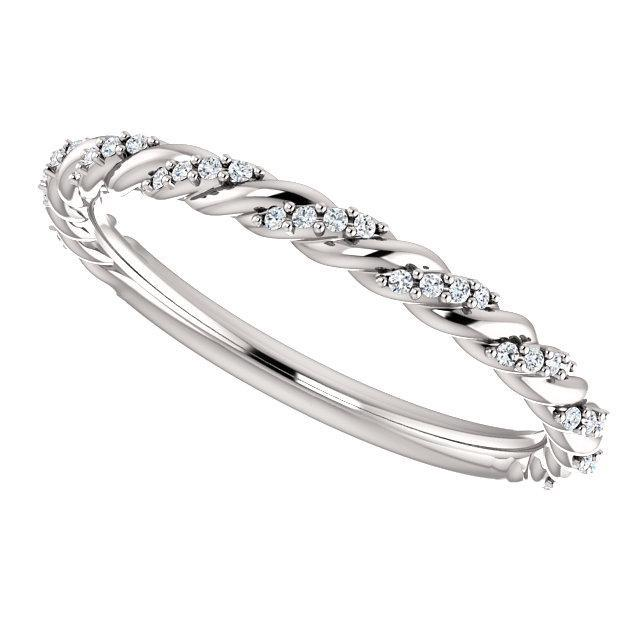 Pave twisted diamond wedding band
