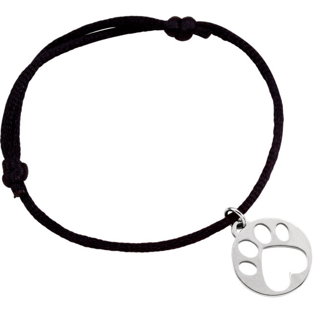 Sterling Silver Paw Bracelet with Satin Cord