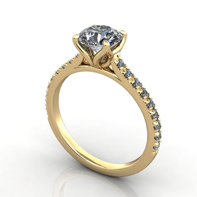 Petal prongs and petal basket engagement ring yellow gold
