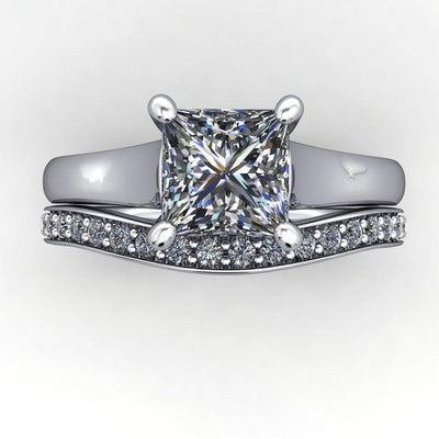 cathedral solitaire white gold matching band