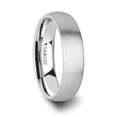 PYTHIUS Round Brushed White Tungsten Ring - 6mm & 8mm