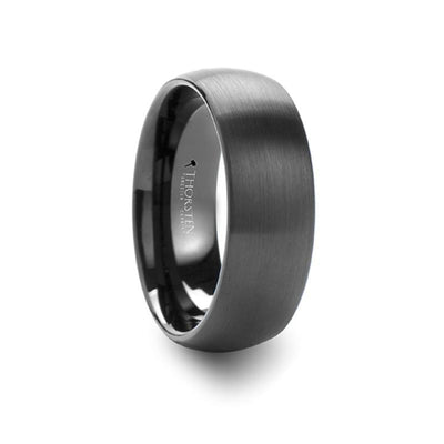 RAIDER Round Brush Finished Black Tungsten Carbide Ring - 6mm & 8mm