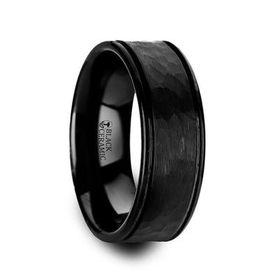 REVENANT Hammered Finish Center Black Ceramic Band with Dual Grooves and Polished Edges - 6mm & 8mm