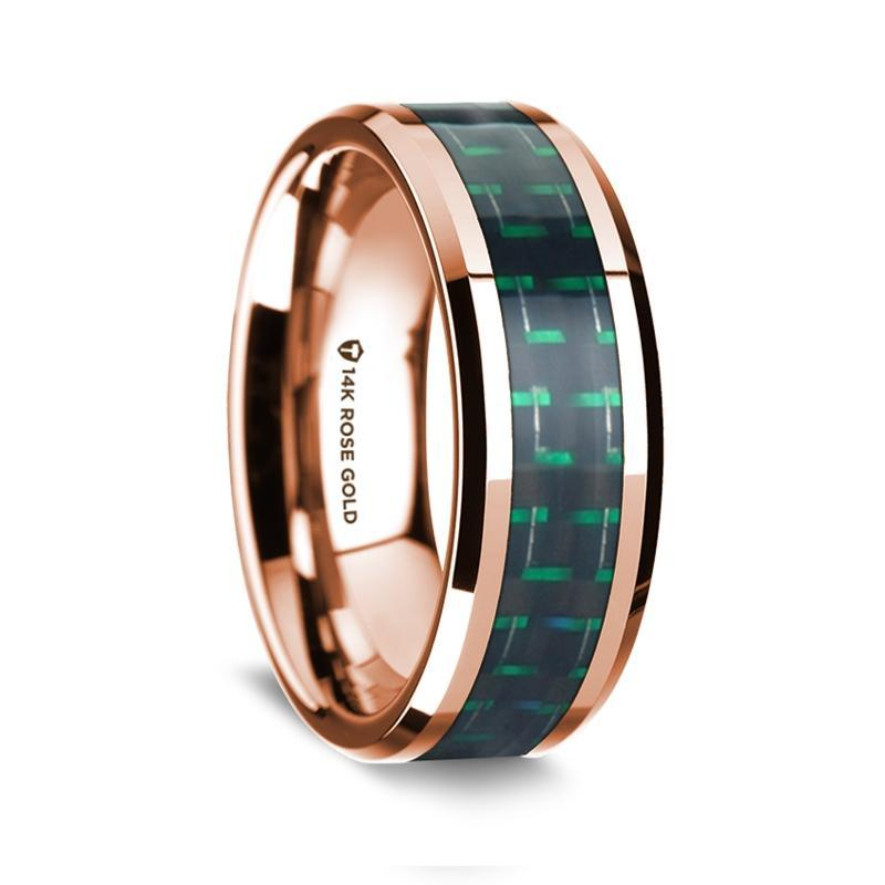 14k Rose Gold Polished Beveled Edges Wedding Ring with Black and Green Carbon Fiber Inlay - 8 mm