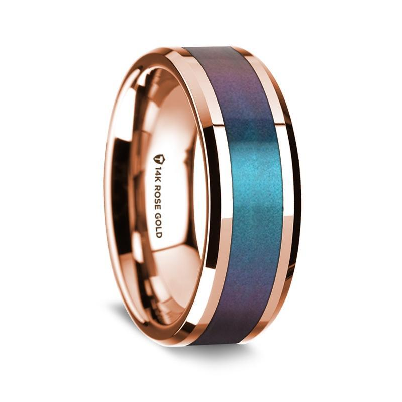 14k Rose Gold Polished Beveled Edges Wedding Ring with Blue and Purple Color Changing Inlay - 8 mm