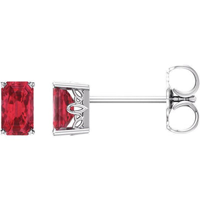 Emerald Cut Lab-Grown Scrollwork Gemstone Earrings