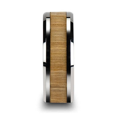 SAMARA Tungsten Ring with Polished Bevels and Ash Wood Inlay - 8mm