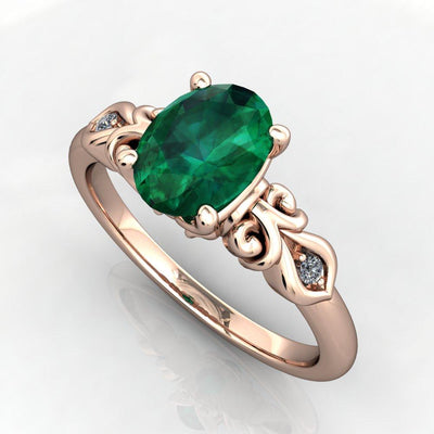 Scrollwork Oval Gemstone Solitaire Ring