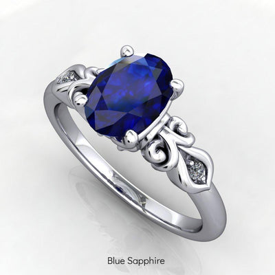 Vintage inspired scrollwork blue sapphire engagement ring promise ring