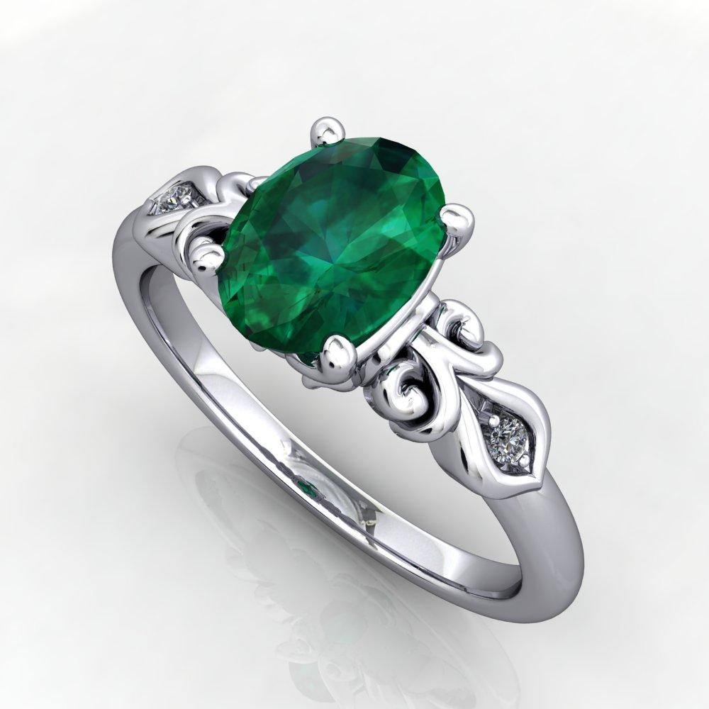 Vintage inspired scrollwork emerald engagement ring promise ring