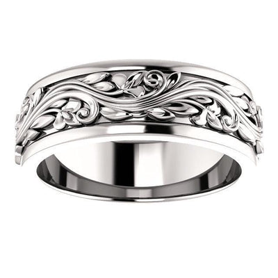 Sculptural inspired white gold wedding band
