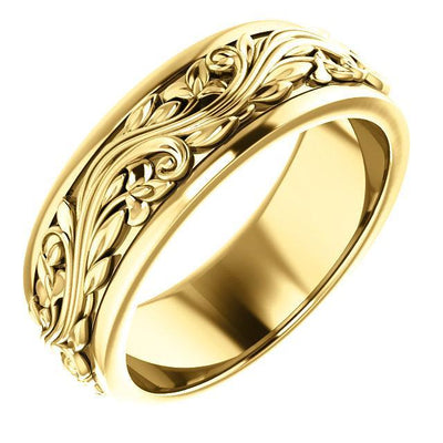 sculptural inspired yellow gold wedding band