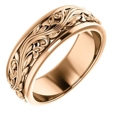 sculptural inspired rose gold wedding band
