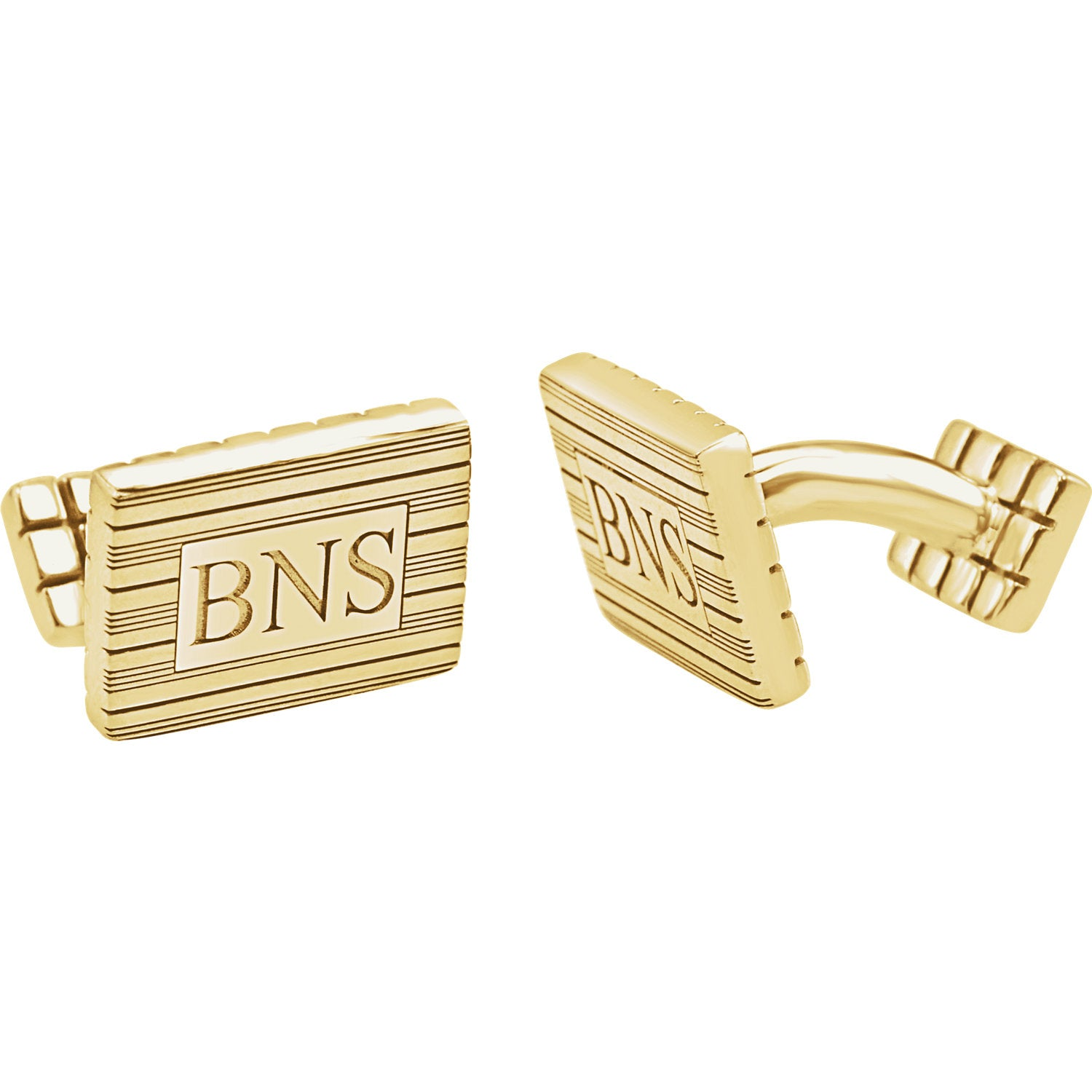 Striped Yellow Gold Plated Monogram cuff links