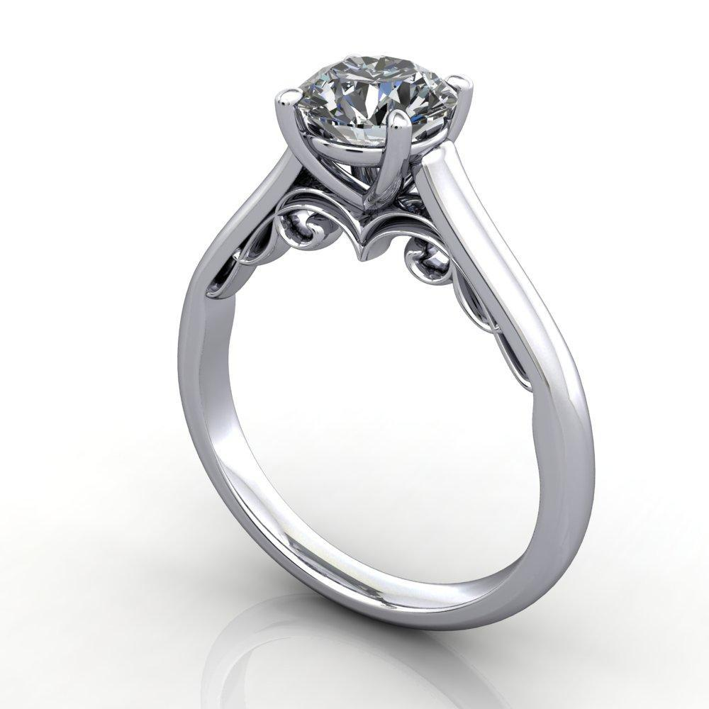 solitaire engagement ring vintage scroll