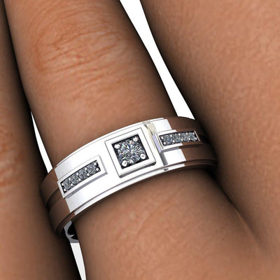 Square Channeled Diamond Wedding Band