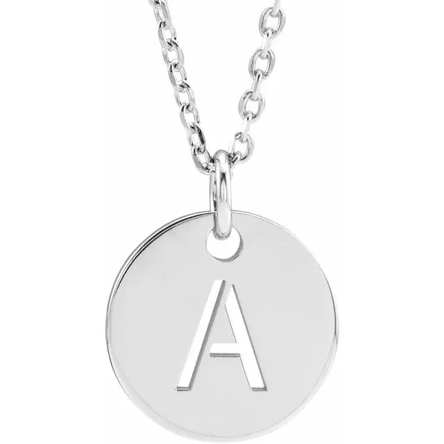 Stamped Initial Disc Necklace