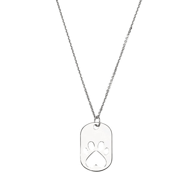 "Sterling Silver Paw Dog Tag 18"" Necklace"