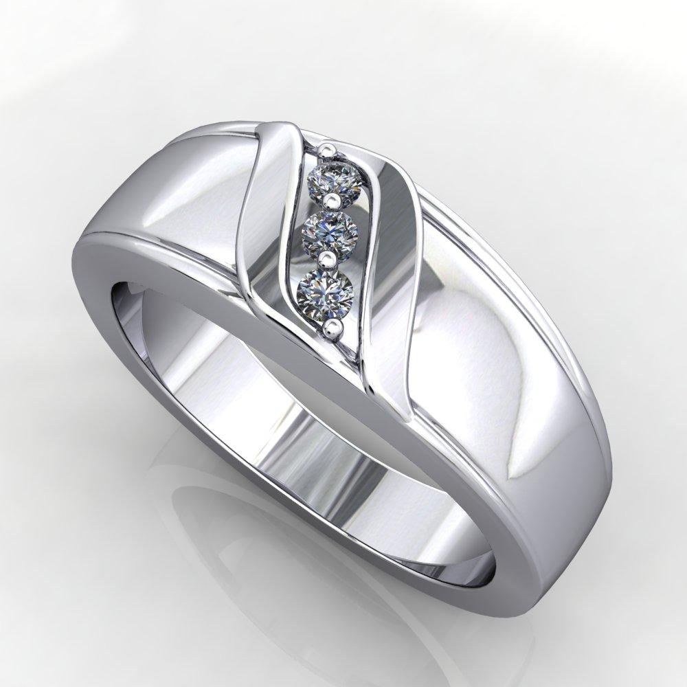 Men's wedding engagement band three stone diamond diagonal