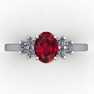 Oval Lab-Grown Gemstone Ring with Diamond Accents
