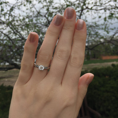 solitaire with double row band soha diamond co