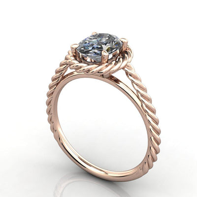 Twisted band rope band halo engagement ring rose gold