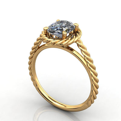 Twisted band rope band halo engagement ring yellow gold