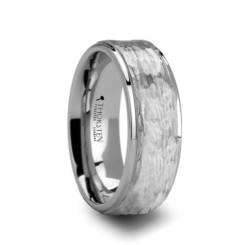 Hammered tungsten ring