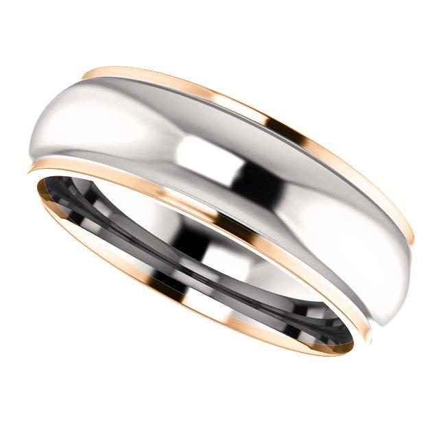 two tone comfort fit wedding band rose gold