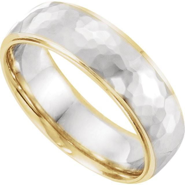 Wedding Bands - Two-Tone 14k Gold Wedding Band With Wide Hammered Inlay (6mm)