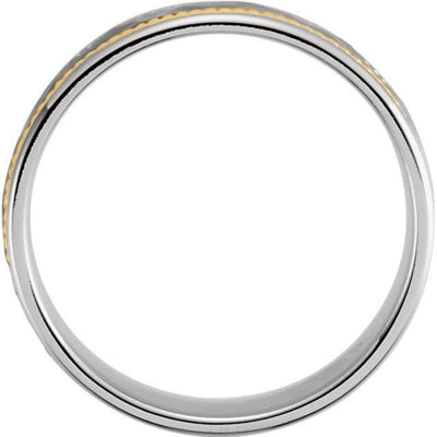Two-Tone 14k Gold Hammered Woven Band (8mm)