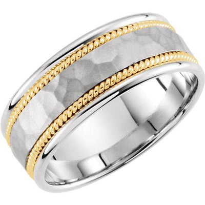Wedding Bands - Two-Tone 14k Gold Hammered Woven Band (8mm)