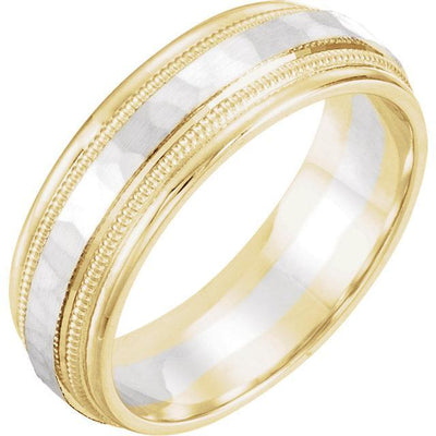 two tone 14k white and yellow gold wedding band