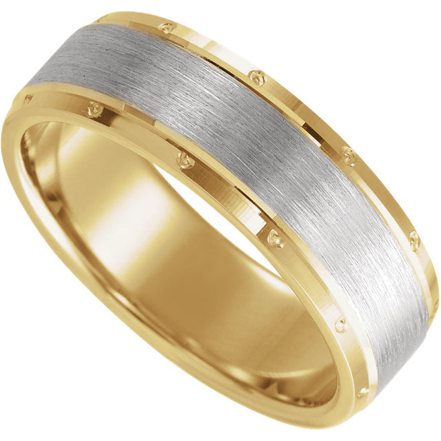Two-Tone wedding band with matte finish