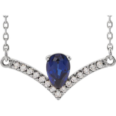 V Necklace with Pear-Shaped Gemstone and Diamond Accents