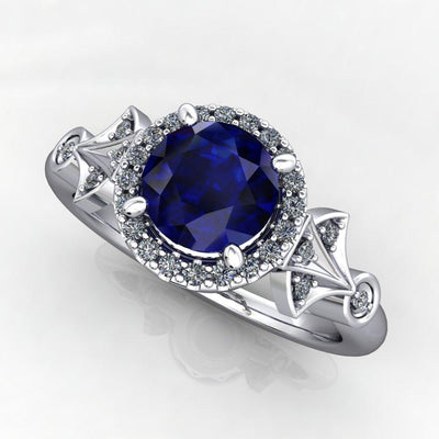 Vintage art-deco inspired gemstone engagement ring Soha Diamond Co.