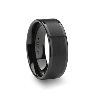 VULCAN Flat Black Tungsten Ring with Brushed Center & Polished Edges - 6mm & 8mm