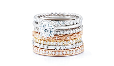 Wedding Bands - Wave Milgrain Stackable Diamond Wedding Band