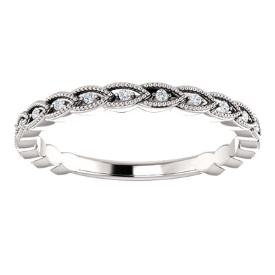 Wheat milgrain scalloped lab-grown diamond wedding band