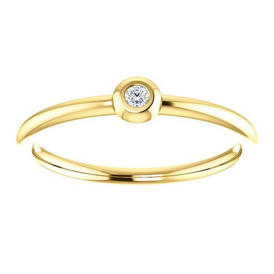 Bezel-Set Diamond Stackable Ring