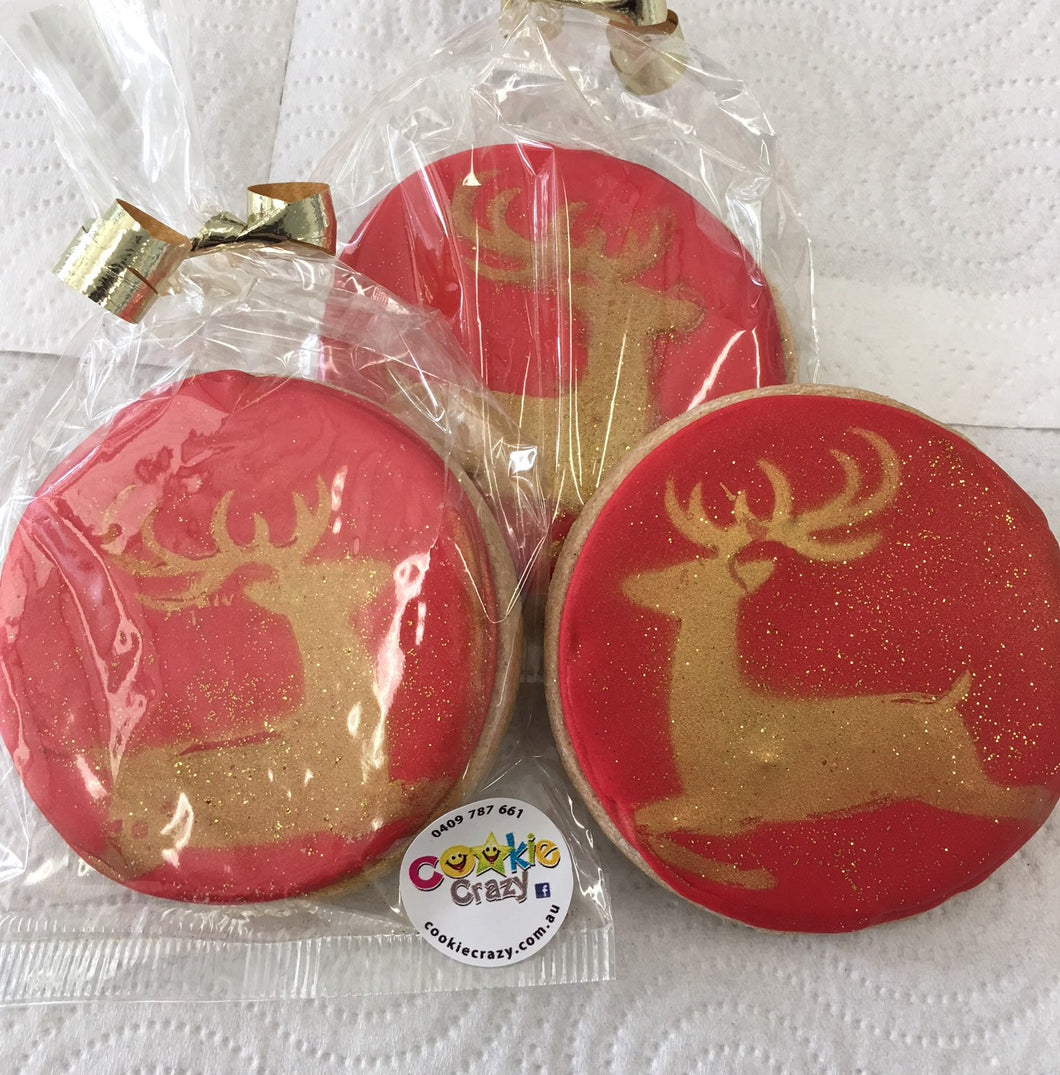 Gold Reindeer Red Bauble