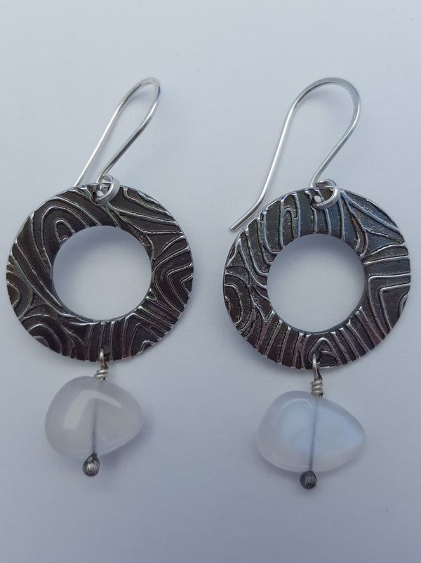 Moonstone Disc Earrings