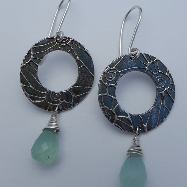 Chalcedony Disc Earrings