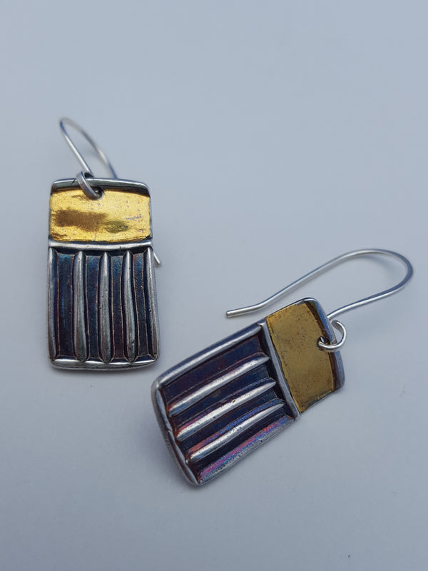 Stripes and Squares with Gold Earrings