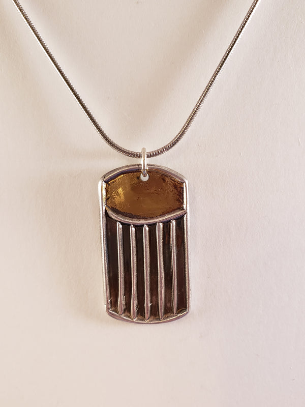 Stripes and Squares Necklace with Gold