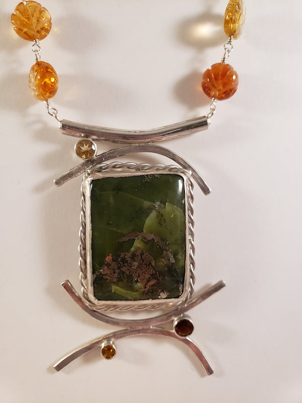 Nephrite and Citrine Necklace