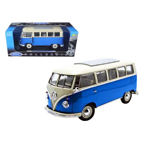 1962 Volkswagen Microbus Blue 1/18 Diecast Car by Welly - MAXMARTZ