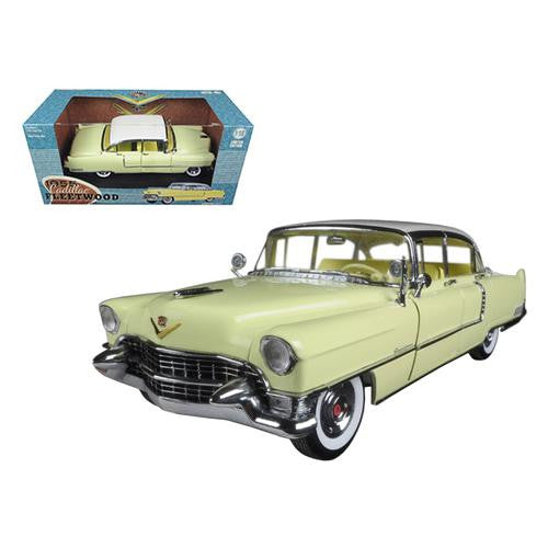 1955 Cadillac Fleetwood Series 60 Yellow with White Roof 1/18 Diecast Model Car by Greenlight - MAXMARTZ